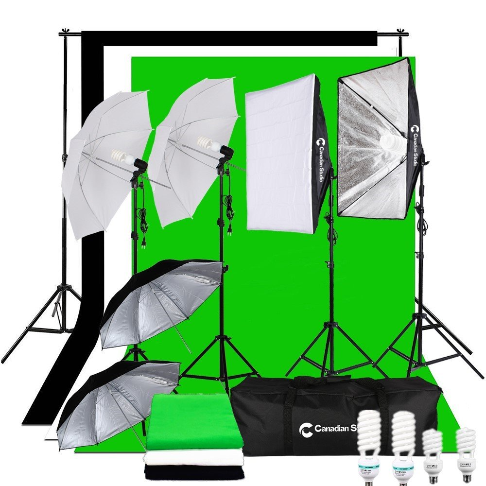 CanadianStudio Photography Studio 1400 watt Continuous Lighting Umbrella softbox Light Black/White/green High Key Muslin Backdrop Stand Kit for Video Photo Portrait VL-50704A