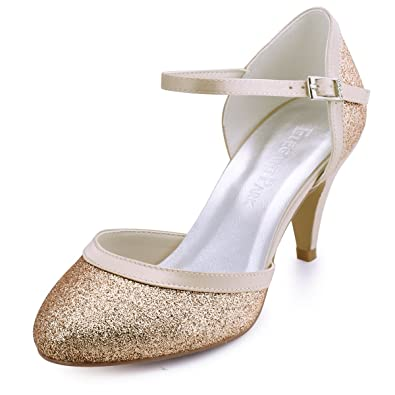 cb327b58d73 ElegantPark HC1510 Women Closed Toe Ankle Straps Glitter Wedding Evening Party  Court Shoes Gold UK 2