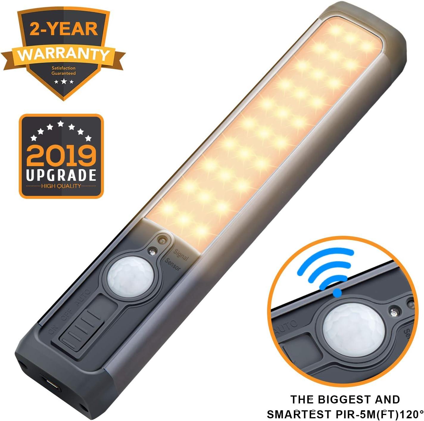 30 LED Closet light 2W Motion sensor closet lights rechargeable under cabinet lighting wireless wardrobe light for Closet Warm white 1600mAh battery Powered closet light bar 3 Mode-ON/OFF/Motion&Light