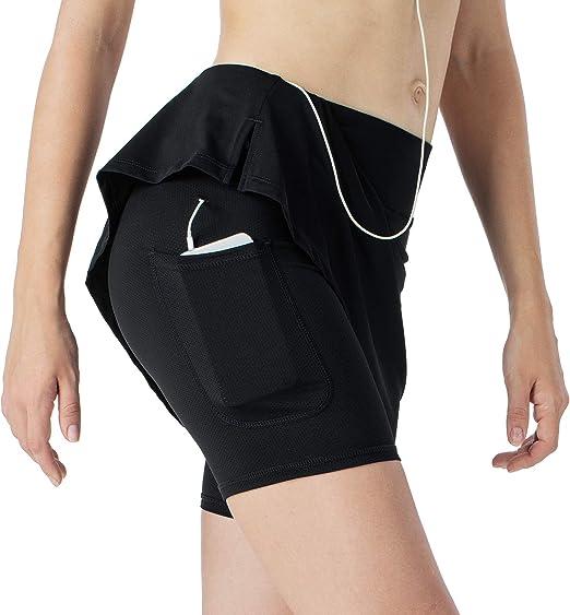 NAVISKIN Femme Short de Jupe L/ég/ère Active Anti-UV UPF 50 avec Poches Zipp/ée pour Workout Casual Danse Fitness Yoga Jogging