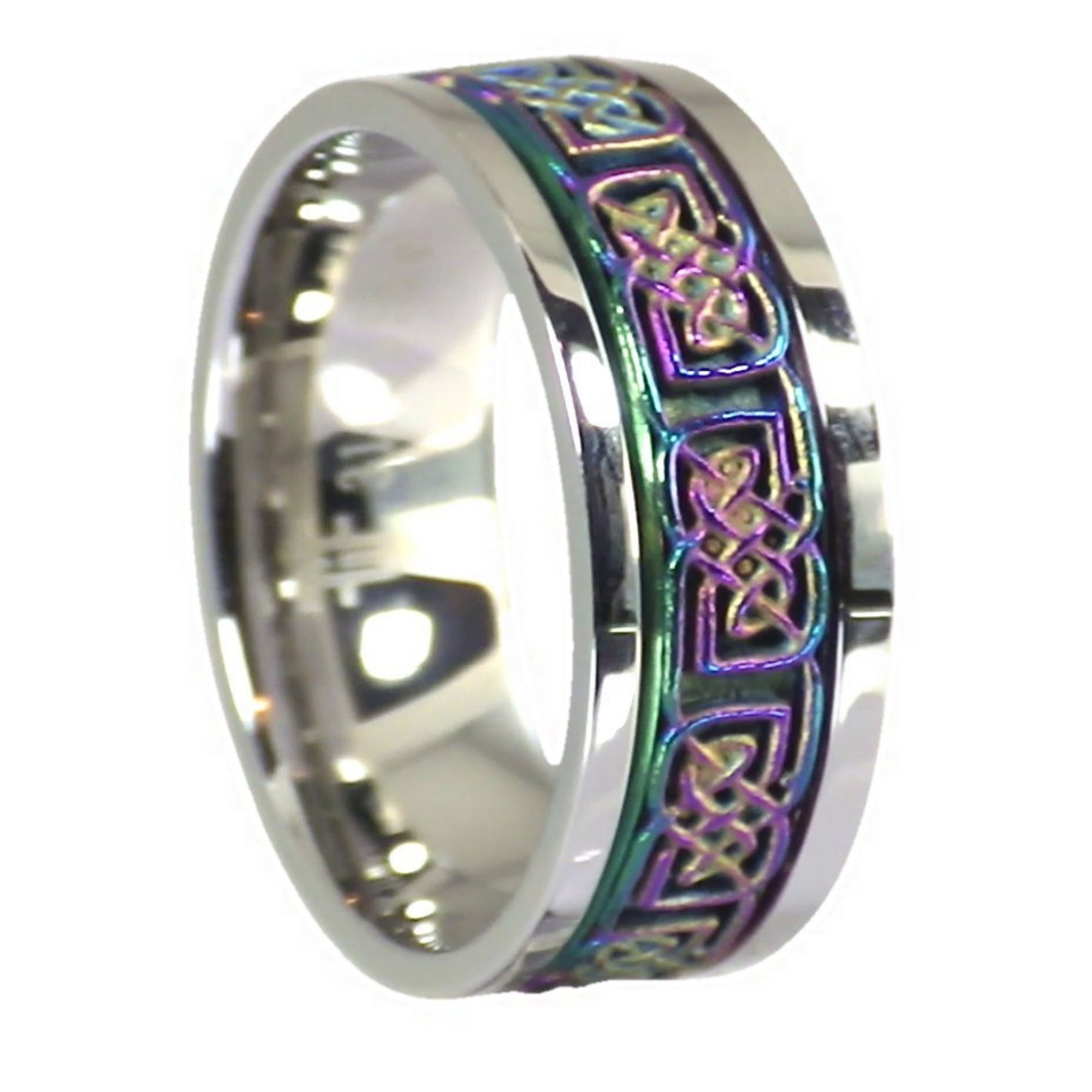 Fantasy Forge Jewelry Rainbow Celtic Knot Stress Reliever Stainless Steel Spinner Ring Size 9.5 by Fantasy Forge Jewelry