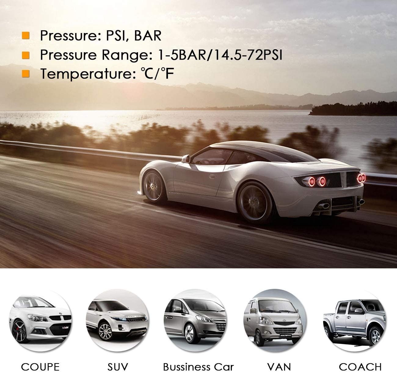1-5BAR//14.5-72PSI Favoto TPMS Car Tire Pressure Monitoring System Solar Power LCD Screen Universal 4 External TPMS Sensors Real-time Monitor Tires Pressure /& Temperature