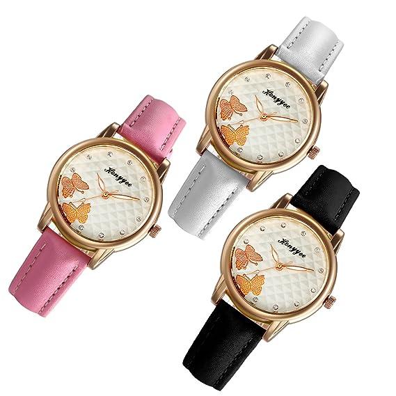 JewelryWe 3pcs Relojes de Pulsera Analogico para Mujer, Correa de Cuero de Colores Dibujo de Mariposas, Retro Elegante Relojes para el Verano: Amazon.es: ...