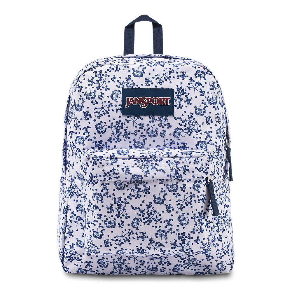 JanSport Superbreak Backpack - White Field Floral - Classic, Ultralight