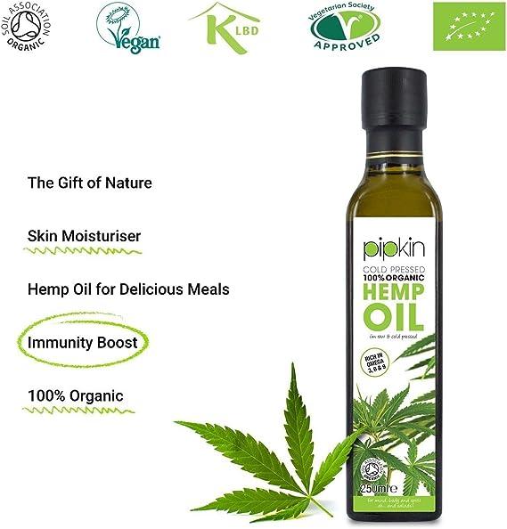 Pipkin Aceite de Cáñamo 100% Orgánico 250ml, Crudo, Prensado en Frío, Sin Refinar, Rico en Omega 3 6 9, Apto para Vegetarianos y Veganos, Ideal como ...