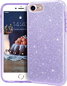 "MATEPROX iPhone SE 2020 case,iPhone 8 case,iPhone 7 Glitter Bling Sparkle Cute Girls Women Protective Case for 4.7"" iPhone 7/8/SE (Purple)"