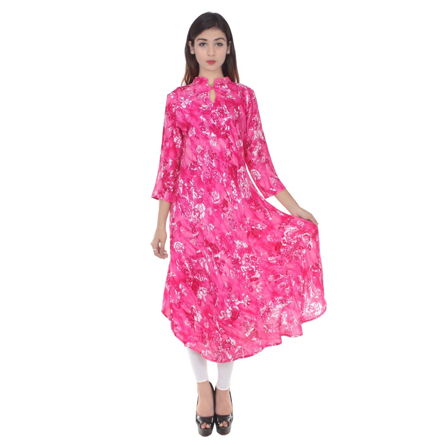 Chichi Indian Women Kurta Kurti 3/4 Sleeve Large Size Floral Print Round Anarkali Pink-White Top by CHI
