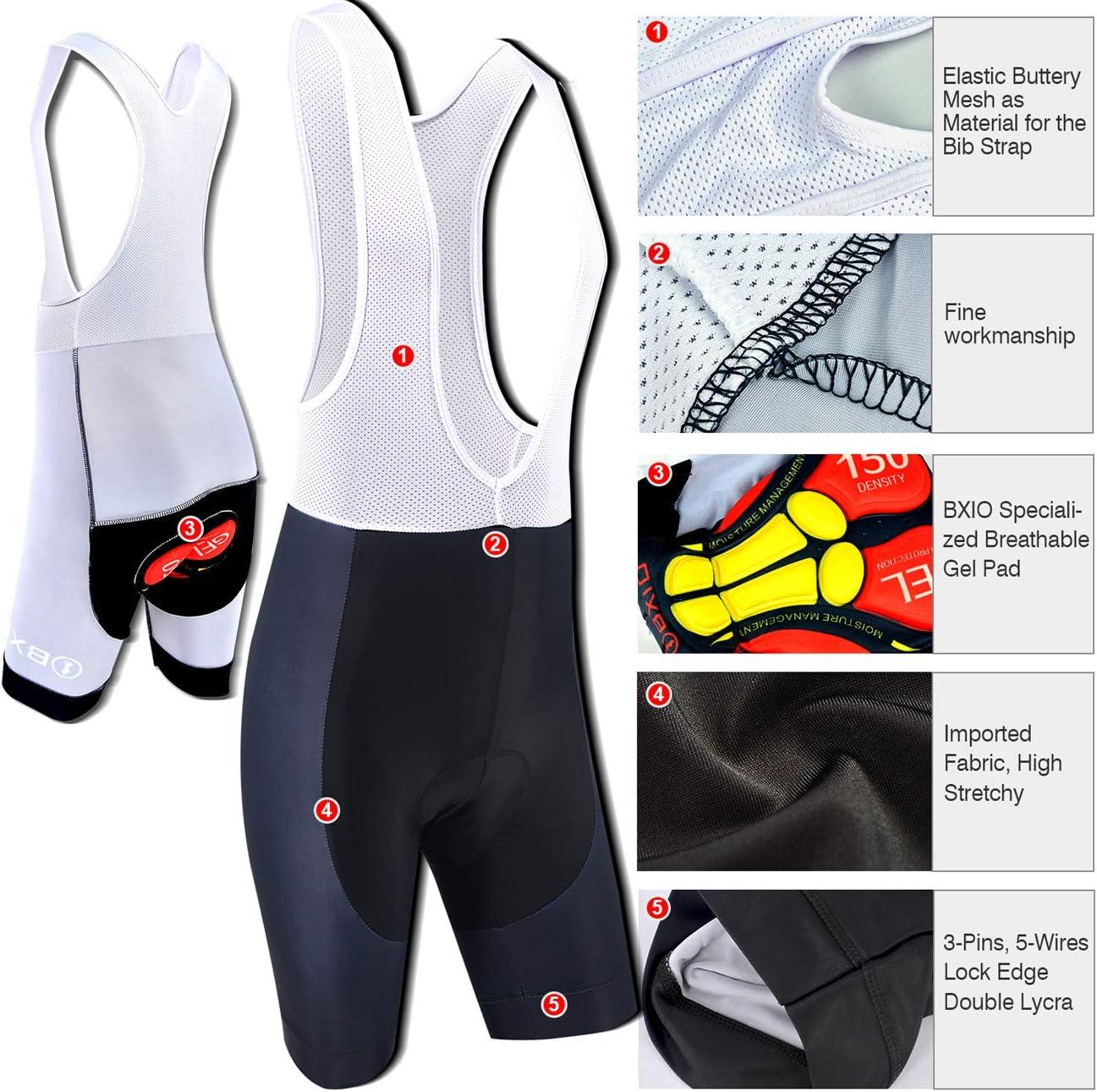 BXIO Ropa de Ciclismo para Hombres Mangas cortas Jerseys de Bicicleta Pantalones Cortos transpirables de Gel 5D 201
