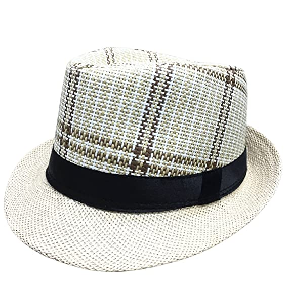 3f8916c0259 Cupcinu Summer Sun Straw Hat British Style Panama Fedora Trilby Straw Hat  Straps and Lattice Design