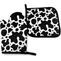 RENGMIAN Cow Skin Texture Oven Mitts and Pot Holders Heat Resistant Oven Gloves Safe Cooking Baking Grilling