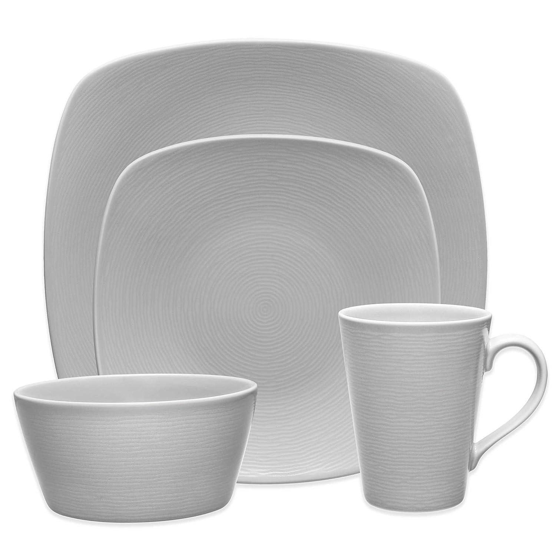 Amazon.com | Noritake Grey on Grey Swirl Dinnerware 4-Piece Square Place Setting Set Dinnerware Sets  sc 1 st  Amazon.com & Amazon.com | Noritake Grey on Grey Swirl Dinnerware 4-Piece Square ...