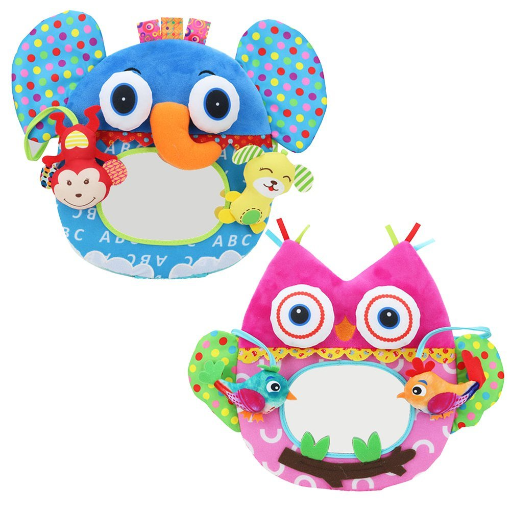Samber Multi-function Baby Distorting Mirror 3D Stereo Animal Mirror Rattle Bed Bell Early Educational Cognitive Toys for Toddler Children Girls and Boys (All)