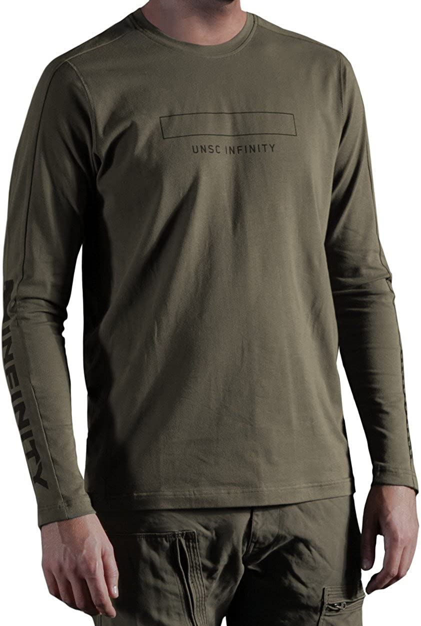 Musterbrand Halo Long-Sleeve T-Shirt Men Catapult with UNSC Print Green MBHA004L