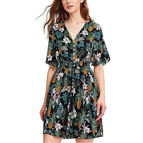 Go First Vestido Floral Casual para Mujer con Cuello En V ...