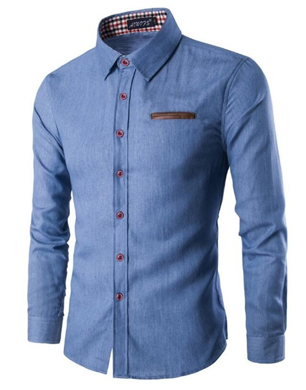 Meetloveyou Men Shirt Pocket Fight Leather Dress Shirt Long Sleeve Slim Fit Camisa Masculina Casual Male Shirts Sky Blue L