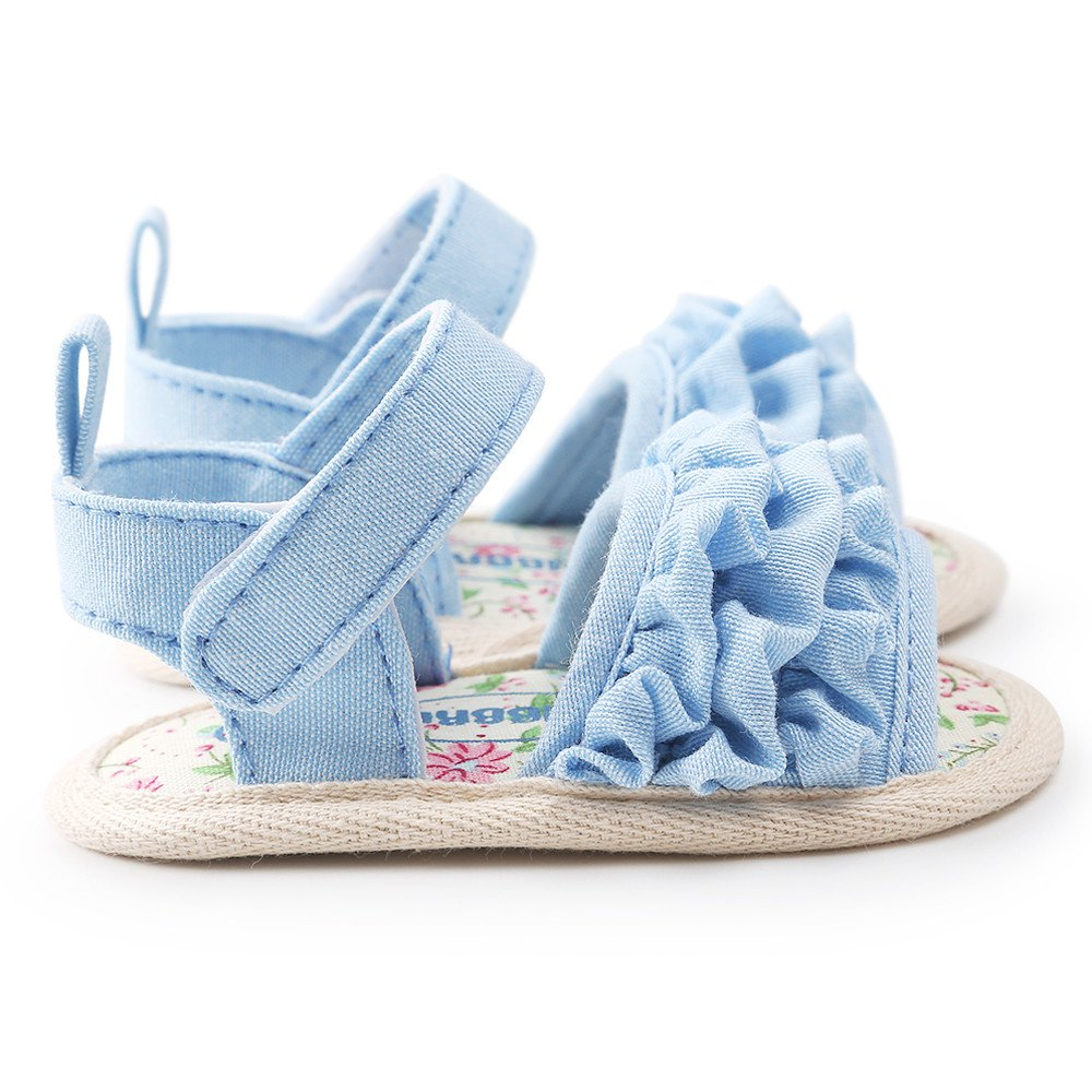 Cyhulu Infant Baby Girls Flower Sandals Cotton Soft Sole First Walker Crib Shoes 0-18 Months