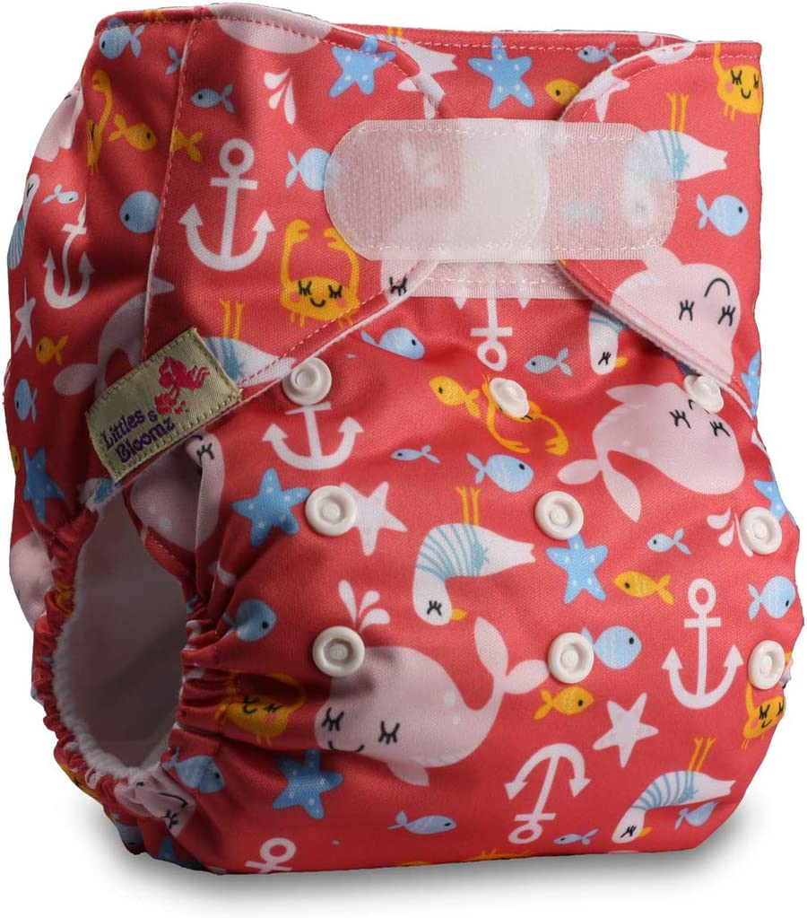 with 2 Bamboo Inserts Reusable Pocket Cloth Nappy Pattern 52 Littles /& Bloomz Fastener: Hook-Loop Set of 1