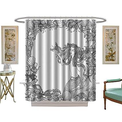 Shower Curtains Mildew Resistant Rmaid In Artsy Seashells Starfish Coral Reef Frame Ancient Culture Myth Artwork