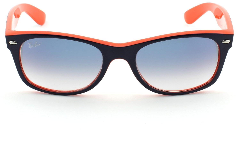 47880ccc66a Amazon.com  Ray-Ban RB2132 New Wayfarer Blue Orange Frame Crystal Gradient  Light Blue Lens 789 3F