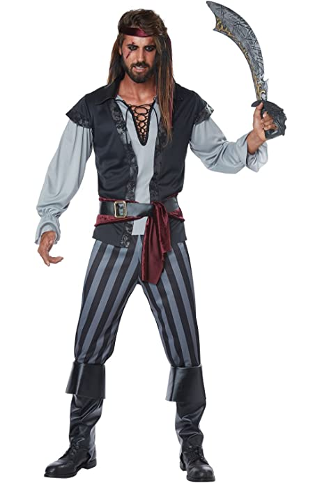 CA825 Faux Real Swashbuckler Pirate Caribbean Buccaneer Mens Costume T-Shirt Top