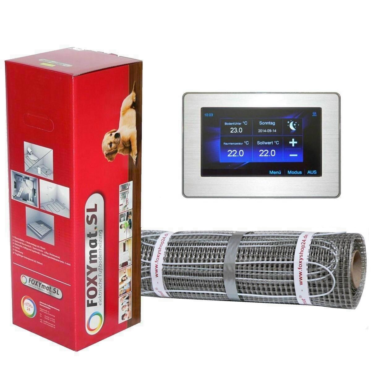 mit Thermostat FOXYREG CTFT,Komplett-Set 3.5 m/² 0.5m x 7m FOXYSHOP24-elektrische Fu/ßbodenheizung PREMIUM MARKE FOXYMAT.SL 160 Watt pro m/²