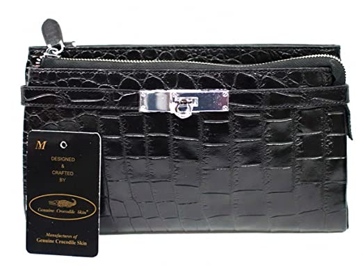 225f909b6de9 Authentic M Crocodile Skin Womens Belly Clutch Bag Purse Zippers ...