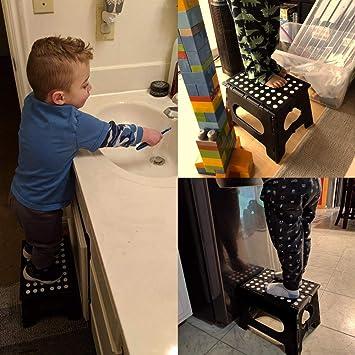 Noir ASelected Petit marchepied Pliable pour Adultes et Enfants 22,9 cm en Plastique Pliable /à Plat pour Cuisine Salle de Bain