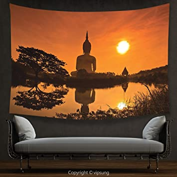 House Decor Tapestry Yoga Big Giant Statue By The River At Sunset Thai Asian Culture