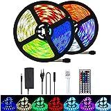UTTORA 10M Tira LED, Tiras LED RGB 5050 12V con 300 LEDs, Iluminación de ambiente,Impermeable, Control Remoto de 44…