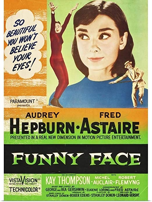 Funny face Audrey Hepburn vintage movie poster print