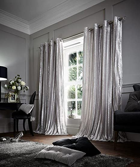 Faux Fur Eyelet Shiny Pair Of Curtains