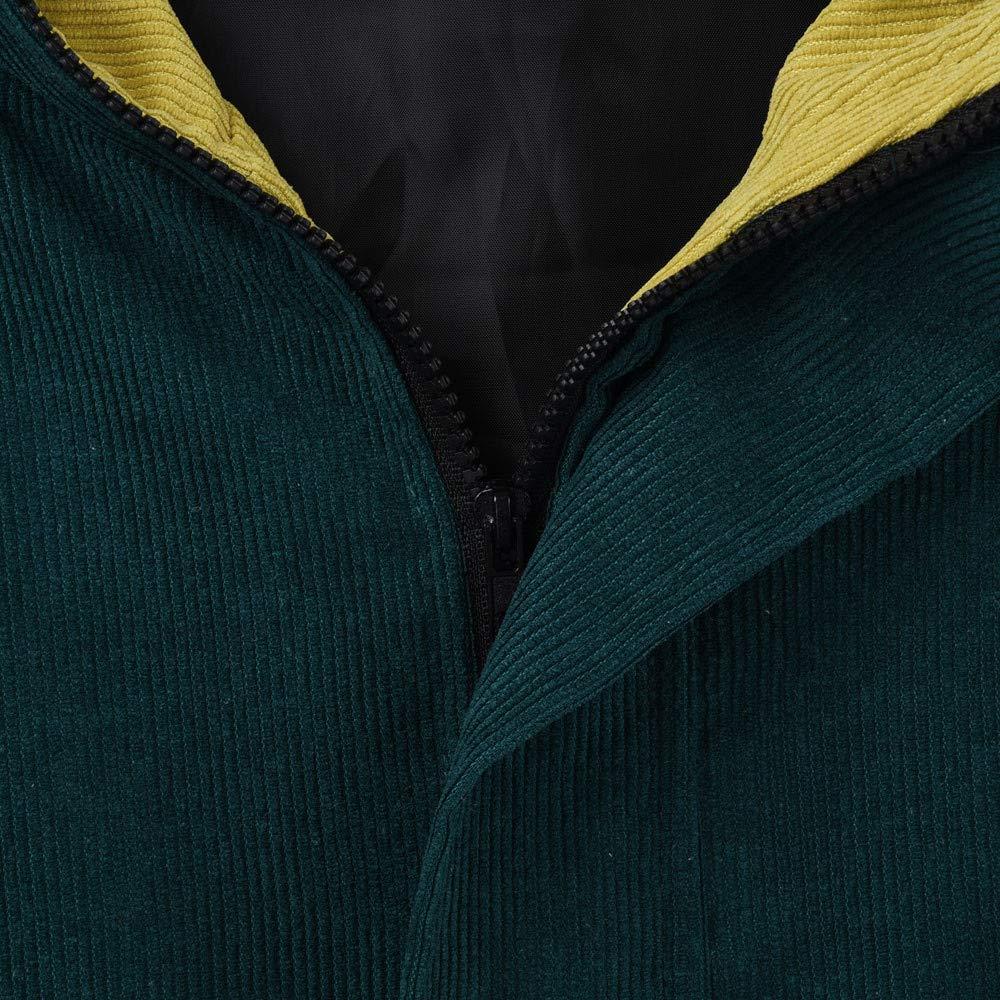 Kangma Women Long Sleeve Corduroy Patchwork Oversize Jacket Windbreaker Coat Overcoat