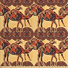 Ambesonne Tribal Decor Fabric by the Yard, African Camel Animals with Oriental Arabesque Ornaments Folk Culture Image, Decorative Fabric for Upholstery and Home Accents, Yellow Orange
