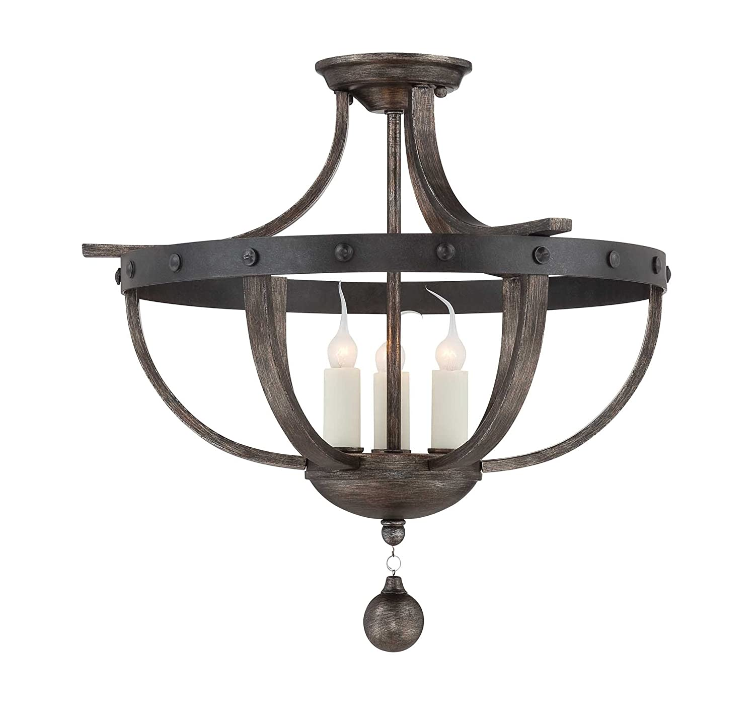 savoy house alsace 3light semiflush reclaimed wood chandeliers amazoncom - Savoy Lighting