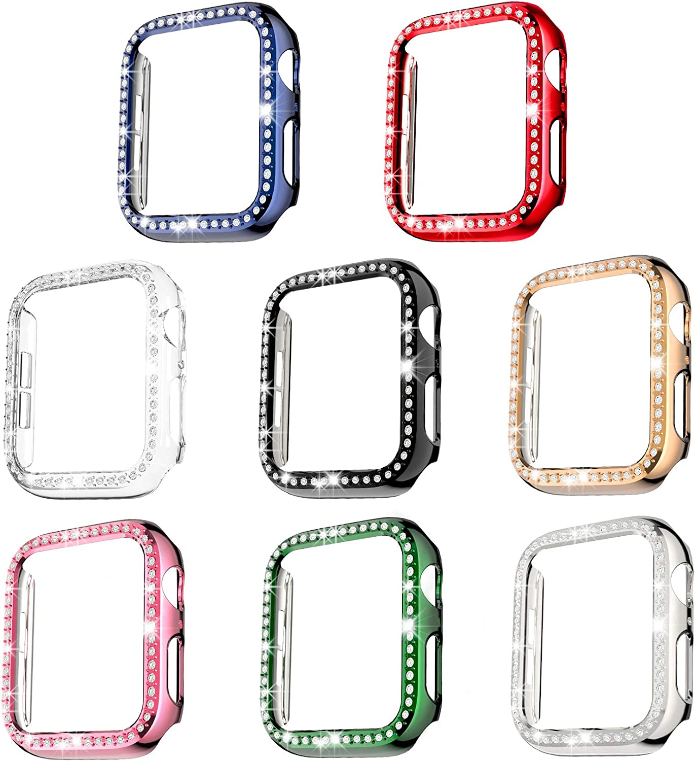 Drztope 8-Pack Protector Case Compatible with Apple Watch Series 3/2/1 Cover 38mm, Bling Crystal Diamonds Protective Cover PC Plated Bumper Frame Accessories for iwatch Series 3/2/1