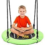 Odoland 24 inch Children Tree Swing SwingSeat, Outdoor Saucer Rope Swing Platform Swing for Kid, Round Swingset wirh Adjustab
