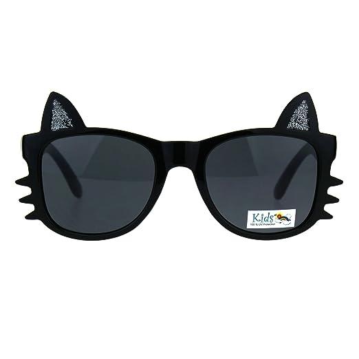 9828af4c15 Girls Sunglasses Kitty Cat Whiskers Ears Frame Kid s Fashion UV 400 Black