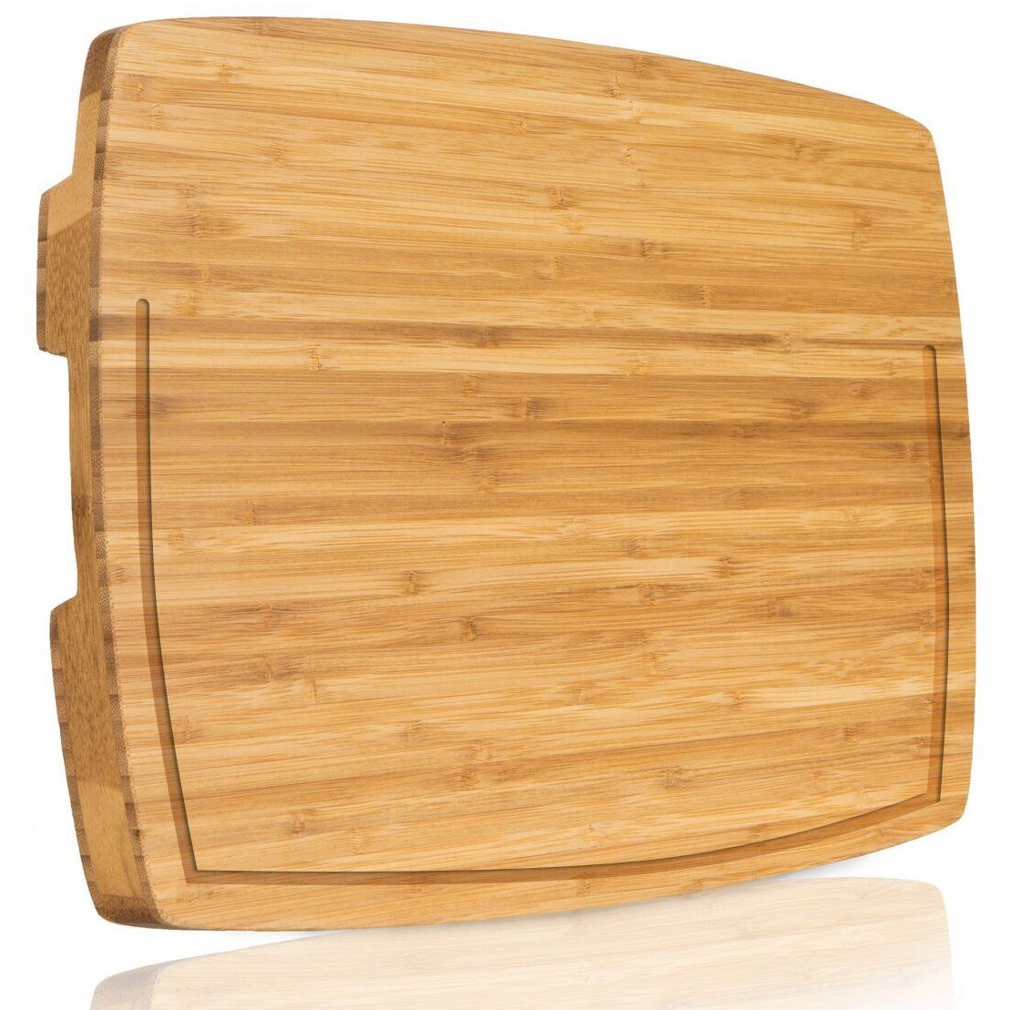 Extra Large Bamboo Chopping Block With Groove - Professional Wood End Grain Butcher Block Cutting Board that Last a Lifetime / Non-Slip Feet, Unique FOOD EASY-TRANSFER DESIGN by PEPEGOO