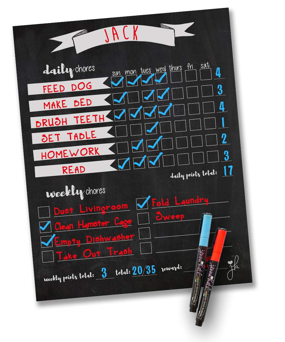 "Jennakate- Magnetic Chalkboard Design- Child Behavior Reward Chore Chart-Daily Household Chore Checklist-Job Chart- Dry Erase- 11""x14"" Dry Erase Markers"