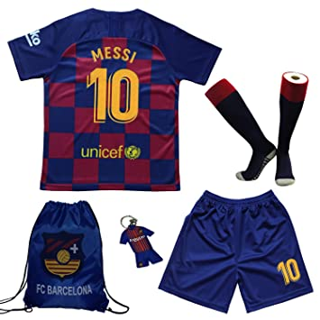 more photos 90146 ce620 BIRDBOX Youth Sportswear Barcelona Leo Messi 10 Kids Home Soccer  Jersey/Shorts Bag Keychain Football Socks Set