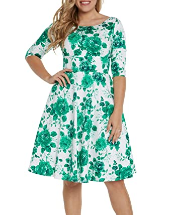 9e5635463bb32 Sidecca 1950's Inspired Rose Floral Fold Over Sweetheart Pinup A-Line Swing  Dress (S