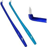 2 x Slim Interspace Toothbrush ~ Blue Brushes for Orthodontic Braces & Bridges