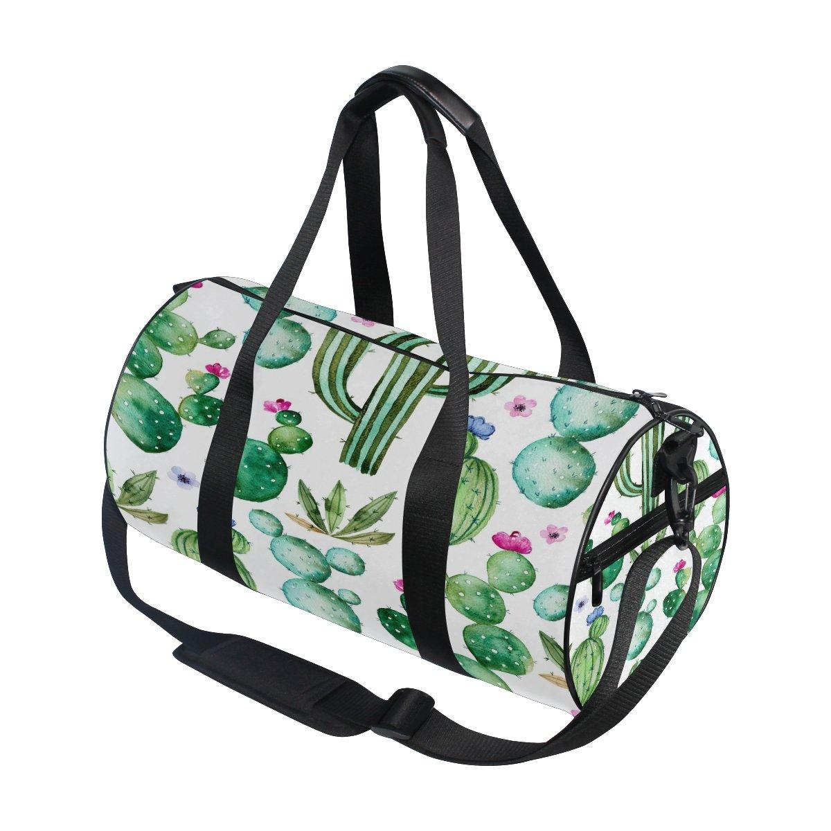Use4 Summer Watercolor Cactus Travel Duffel Bag Sport Gym Luggage Bag for Men Women