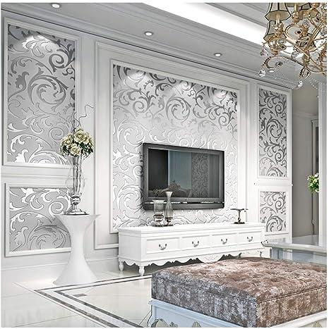Homdox 3D Damsk Wallpaper Modern Non-Woven Sliver Flower US01+OS004864/_S