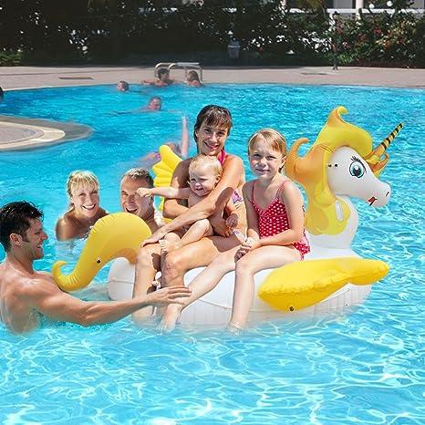 HooYL - Flotador de piscina de unicornio gigante, piscina inflable al aire libre. Flotador