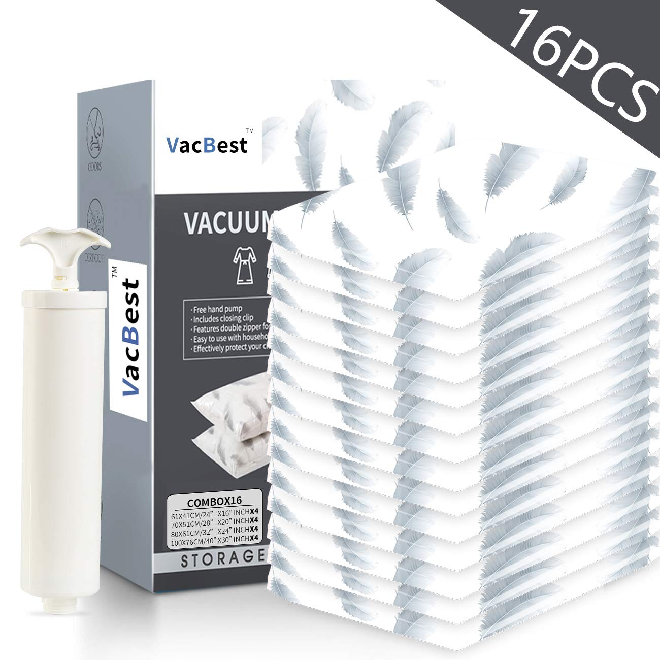 VacBest Vacuum Storage Space Saver Bags (16 Combo) by VacBest