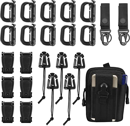 30Pcs Tactical Gear Clip Set Strap D-Ring Climbing Bag Buckle for Molle Backpack