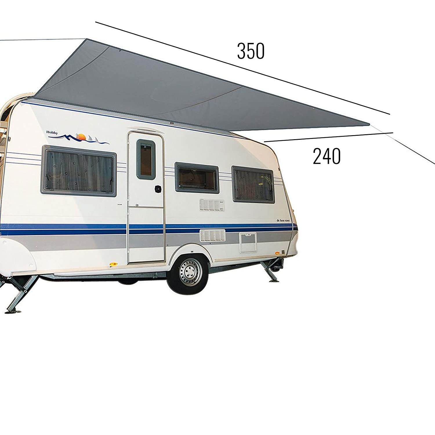 Awning for Caravans /& Motorhomes Grey 3.50/x 2.4/for Edging Strips 7/mm Water Column 2000/mm