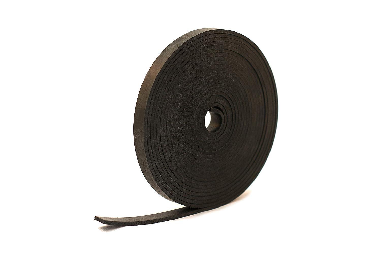 Tira de goma negra de caucho neopreno s/ólido de 12 mm de ancho x 4 mm de grosor x 5 m de largo