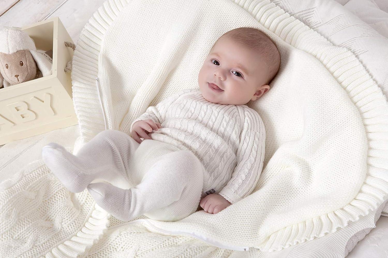 Minutus Knitted Winterfu/ßsack//Fu/ßsack f/ür Babytragetasche und Babyk/örbe Trenzas Zopfmuster vorne Rei/ßverschluss Beige 75 Cm -